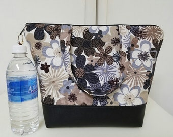 Floral Insulated Lunch Bag, Vinyl Bottom, Lunch Box, Womens Lunch Bag, Earth Tones, Brown, Lunch Box, Nylon Liner with Inner Zipper Pocket.