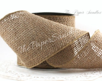 """Wired Burlap Ribbon, 4"""" wide by the yard"""
