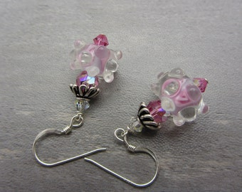 Lampwork Earrings Pink and Clear Glass Earrings Glass Bead Earrings Dangle Drop Earrings Bumpy Dot SRAJD USA Handmade
