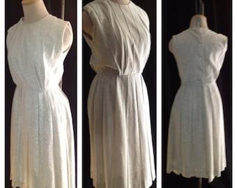 Original Union Label Vintage 50s 60s Silver Lurex Pleated dress VLV Mad Men