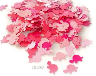 200 Mixed Pink Turtle Cut-outs, Confetti - Set of 200 pcs