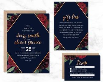 Navy Wedding Invitation Template, Gold Wedding Invitations, Wedding Invitation Printable, Luxury Wedding Invitation, Elegant Wedding Invite