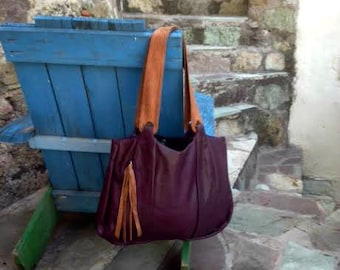 Purple Hobo Large Leather Bag