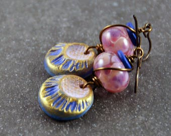Boho Chic Purple Pink Earrings Ceramic Charms Lampwork Pink Purple Beads Antique Brass Wire Wrapped