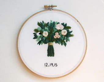 Valentine's Day Gift For Wife, Valentines Day Gift for Her, Second Anniversary Gift, Cotton Anniversary Gift, Wedding Bouquet Embroidery