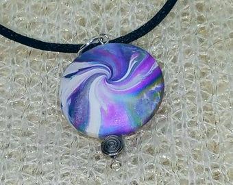 Purple whirlpool lentil bead pendant