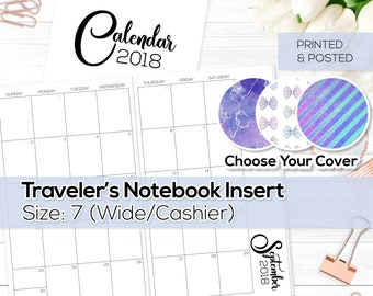 Monthly Calendar 2018 - TN Inserts - Wide / Size No. 7 | TN-MO2P-18-7-P