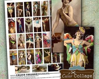 Burlesque Dancers Digital Collage Sheet Printable Paper for 1x2 Domino Pendants, Bezel Settings, Decoupage, Journalling, Mixed Media Art