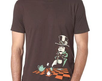 Mad Hatter T-shirt, Alice in Wonderland T-Shirt Men's shirt, Mens graphic tee, Cool t-shirt, Clearance Sale