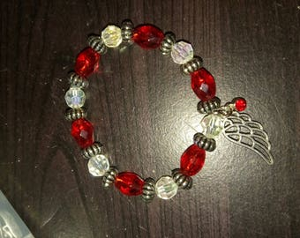 Red and White Angel Wing Bracelet