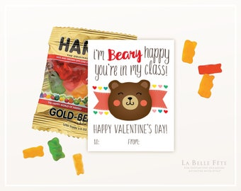 BEARY HAPPY You're in my Class Valentines with bear and hearts in red, pink, aqua and rainbow with DIY printable option
