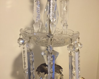 MCM Hollywood Regency Crystal Lamp