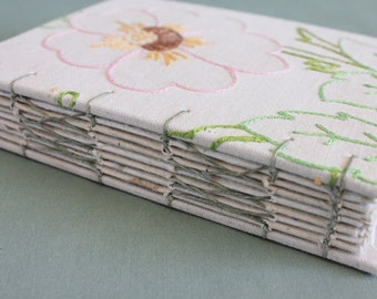 Embroidered Journal Tea Time Vintage Linen Hardcover 01 by PrairiePeasant