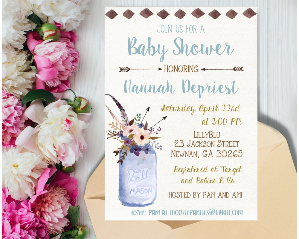 Boho Chic Baby Shower Invitation Boy Boho Tribal Baby Shower