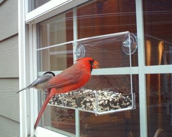 "Window Bird Feeder by JCs Wildlife Classic 8"" Acrylic 2 cups Free Shipping"