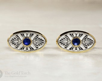 Cuff Links, Men's 18k Yellow Gold and Platinum Cuff Links with Sapphires