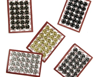 Sets of High Quality Sew-on Snaps, 8mm, 5 Colors Available