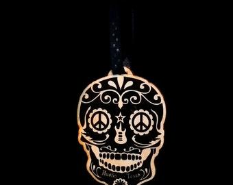 Austin Texas Sugar Peace Skull Ornament / gift tag