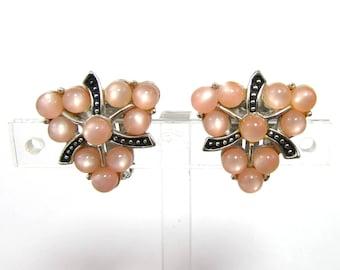 "Kramer Pink & Black Enamel Earrings - 1"" triangular clips - silver tone setting - 1950s-60s"
