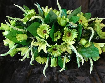 Large Spring Green Cemetery Saddle / Cemetery Flowers for Ground or Headstone / Headstone Flower Arrangement / Memorial Flowers Grave