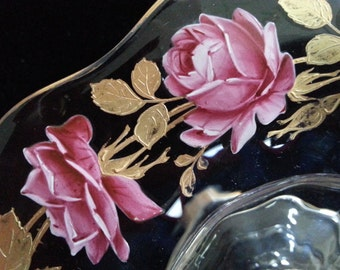 Vintage, 1970's Hand Painted Dish with Stem
