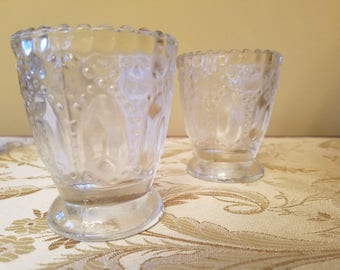 NEW Set of 6 Votive Candle Holders, Patterned, Clear