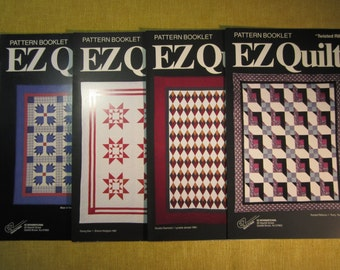 4 EZ Quilts pattern booklets,Bear of the North,Rising Star,Double Diamond,Twisted Ribbons,Templates and instructions for making 4 quilts
