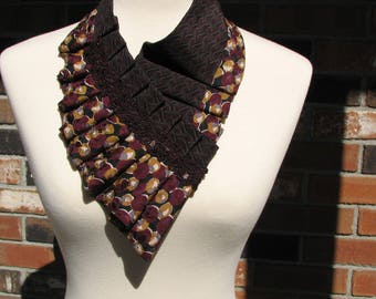 NEW - Necktie necklace - silk ascot - Silk necklace - pleated - ruffled - Ladie's ascot