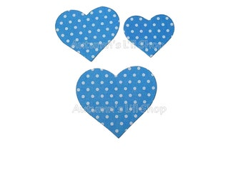 Blue Heart Stickers, Baby Shower Stickers, Envelope Seals, Packaging Stickers, Blue Polka Dot Hearts, Wedding Heart Seal, 30 Pieces