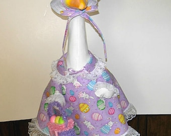 "Easter bunnies and eggs outfit for large 24-27"" lawn or garden geese"