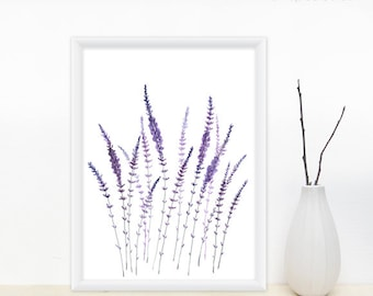 Lavender Watercolor Print - Lavender Field, Purple Flowers, Flower Painting / Modern Wall Decor, 8x11 Print