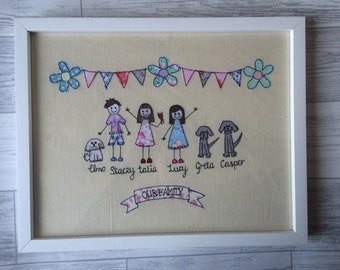 Family personalised free motion machine embroidery Framed Picture