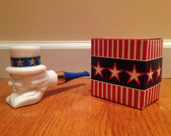 Vintage Avon Uncle Sam Milk Glass Full Decanter Deep Woods After Shave with Box