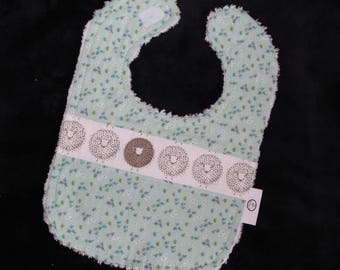 White Sheep and Flowers Chenille Boutique Bib