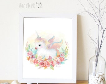 Cute Unicorn Art Printable ,Animals Art Printable, Digital Art Printable, animal clipart, Instant Download Art