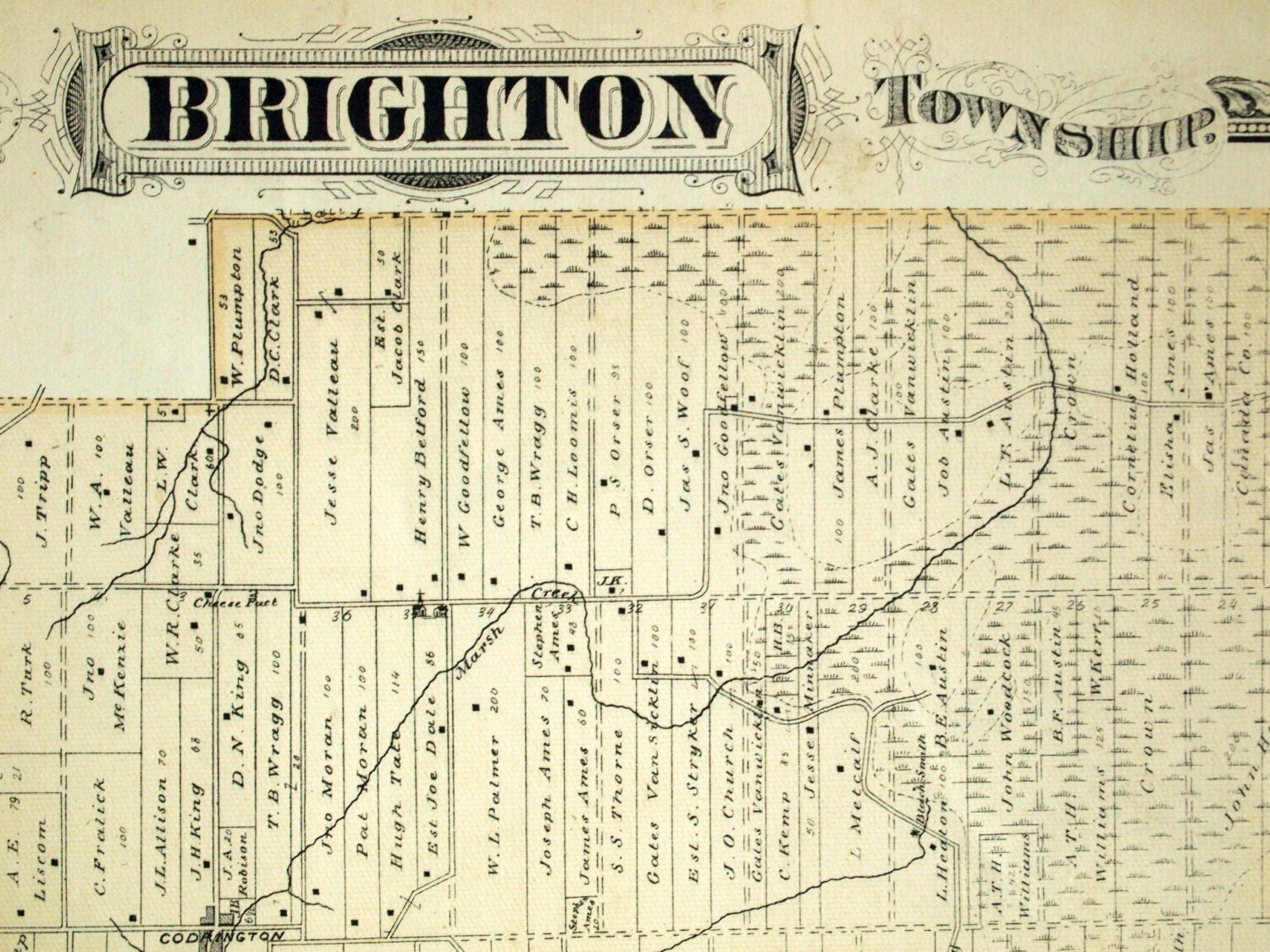 1878 Large Rare Vintage Map of Brighton Township Ontario