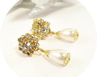 Vintage Ohrringe, Vintage Perlen Ohrringe, Vintage Strass-Ohrringe, Tropfen Ohrringe, Gold Ohrringe Hochzeit Braut Ohrringe Ohrringe