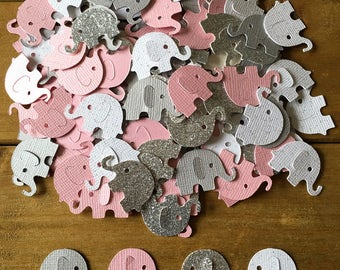 Pink and Gray Elephant Confetti, Silver Elephant, elephant baby shower confetti, It's a Girl, elephant decoration, girl baby shower