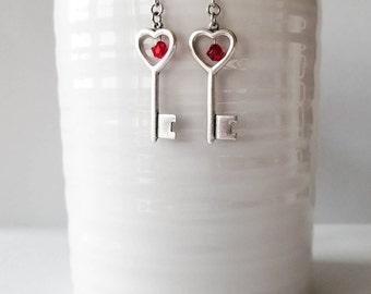 Heart Shaped Key Earrings, Skeleton Key Earrings, Heart Key, Red Bead Earrings, Heart Earrings, Key Charm Earrings, Red Valentine Earrings