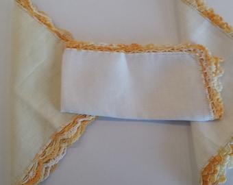 Crochet Edge Irish Linen Hankies - J