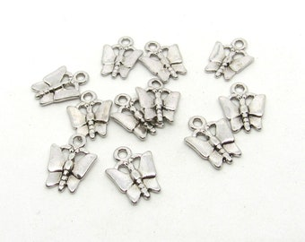 11 Antique Silver Tone Butterfly Charms  14 x 11mm (B513e12)