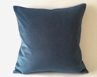 18x18 Teal Blue Cotton Velvet Pillow Cover- Square Decorative Throw Pillows- Invisible Zipper Closure- Knife Or Piping Edge-16x16 to 26x26