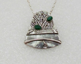 "Item 6048 - ""Jingle Bell""  Handcrafted, sculpted and carved  999 Fine Silver Elegant Bell set with Genuine Malachite"