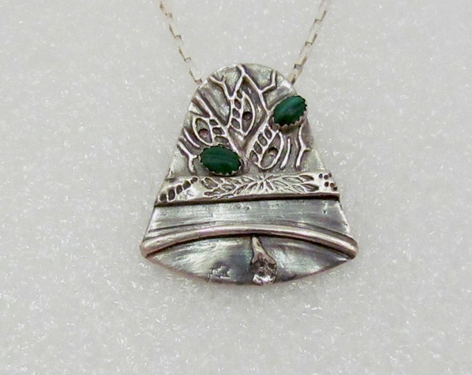 """Item 6048 - """"Jingle Bell""""  Handcrafted, sculpted and carved  999 Fine Silver Elegant Bell set with Genuine Malachite"""