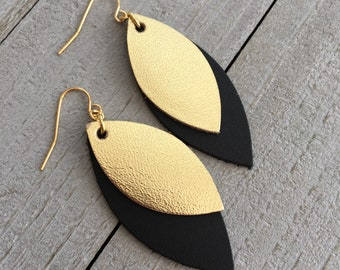 Gold Metallic and Black Leather Marquise Earrings - Dangle Statement Earrings - Geometric Earrings - Gift for Her