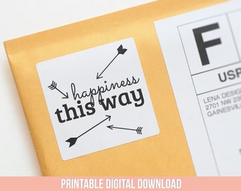 Printable Stickers - Happiness This Way - Happiness Sticker - Pretty Packaging - Happy Mail Ideas - Arrow Stickers - Packaging Supplies