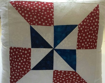 Decorative Pillow in Red White and Blue Pinwheel Quilt Pattern
