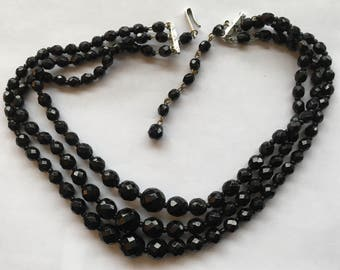 Sale Vintage Three Strand Black Glass Necklace West Germany