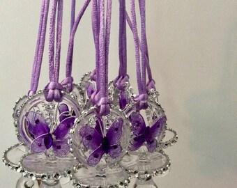 Butterfly purple baby shower pacifier/butterfly purple baby showe favors/butterfly purple necklace game/butterfly purple baby shower(10 pc