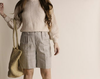 Vintage Oatmeal Linen Shorts | Beige Pleated Linen shorts | high waisted natural linen beige brown shorts | natural fiber shorts | brown lin